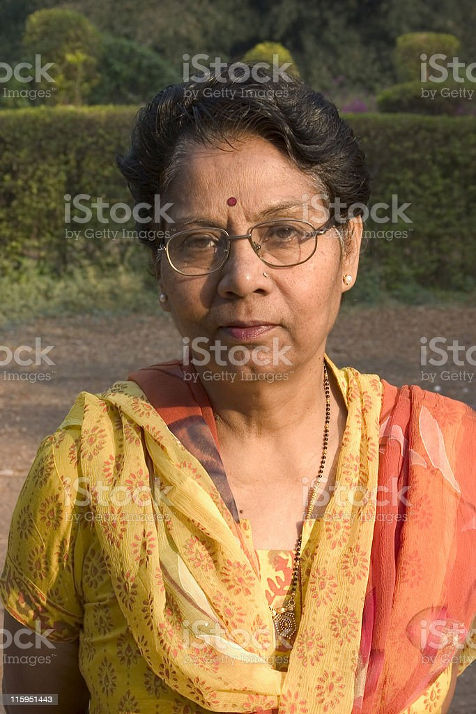 One Indian Asian People Vertical Senior Citizen Woman Natural Light royalty-free stock photo