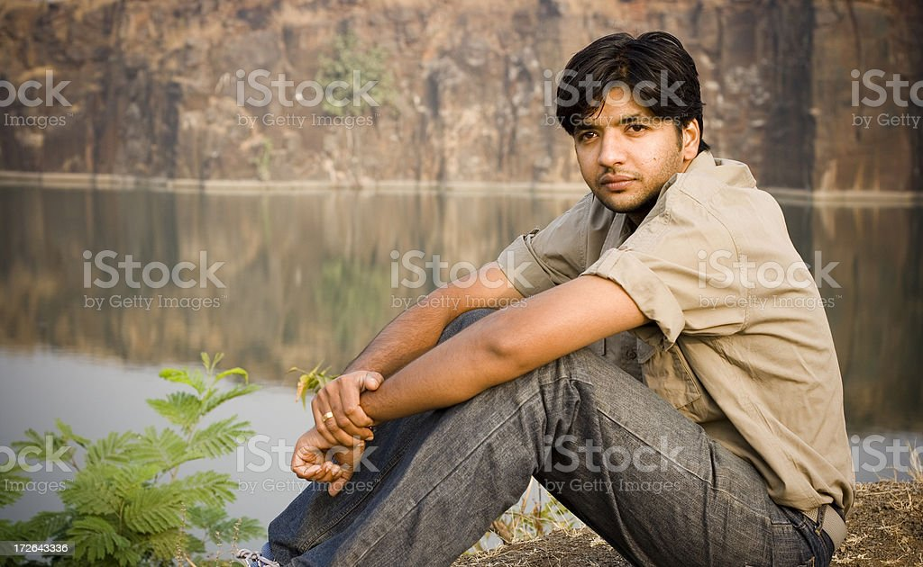 One Indian Asian Youth Male People Horizontal Outdoor stock photo