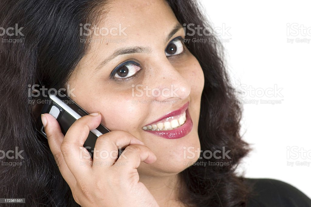 One Indian Business Woman Female talking on phone People Horizontal stock photo