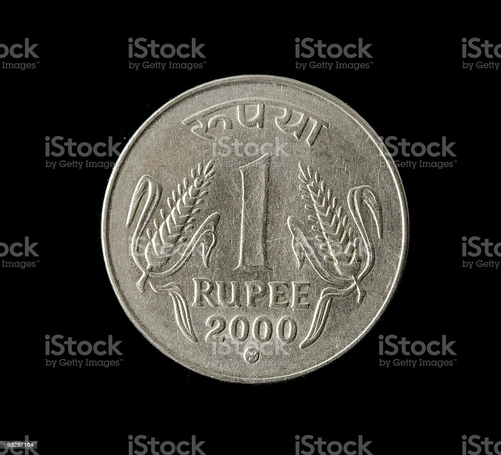 one indian rupee stock photo