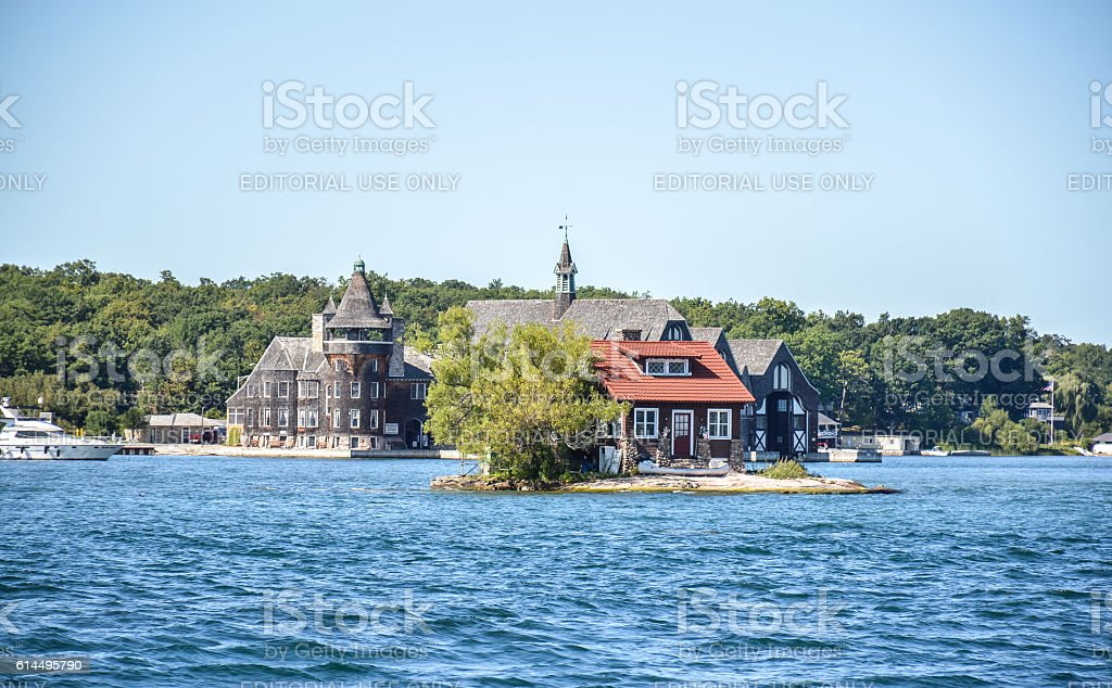 One Island with a small house in Thousand Islands stock photo