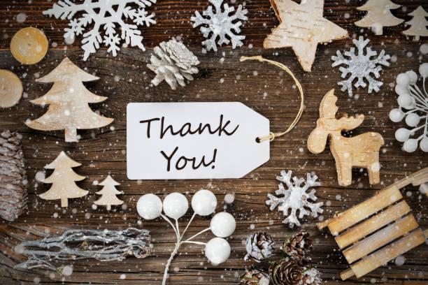 Ein Etikett, Rahmen der Weihnachtsdekoration, Text Danke, Schneeflocken – Foto