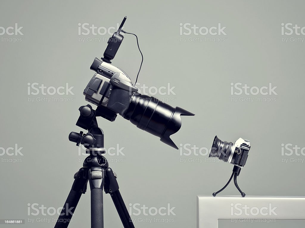 One large and small camera stock photo