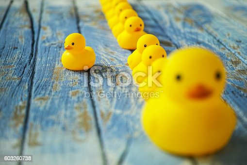 One large rubber duck with many smaller ducks following it in the background with one duck breaking line and going in a different direction. Shallow depth of field with focus on the duck leaving the line. Conceptual image relating to following, leadership, standing out from the crowd, against the grain, being different, management. The ducks are sitting on an old weathered wooden background representing conceptual water.