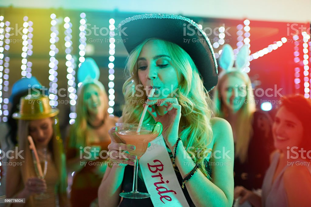 One last sip of the single life stock photo