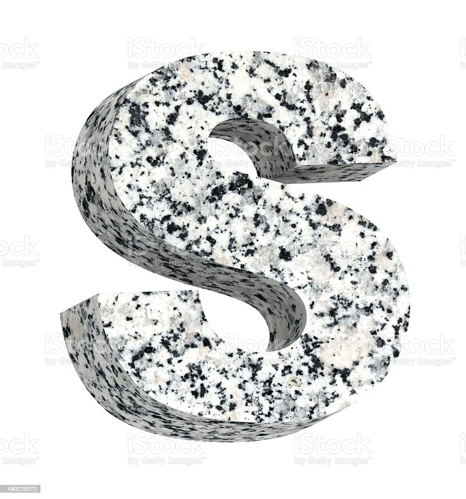 One Letter From Granite Alphabet Set Isolated Over White Stock Photo