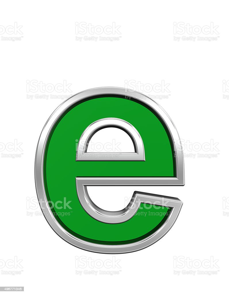 One letter from green glass with chrome frame alphabet set stock photo