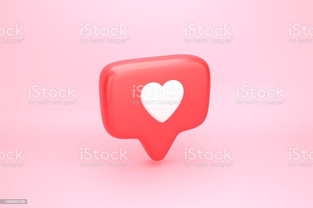 Um como notificação de mídia social com o ícone de um coração foto de stock royalty-free