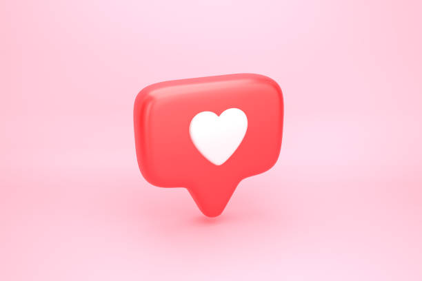 One like social media notification with heart icon stock photo