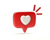 istock One like social media notification with heart icon 1164769192