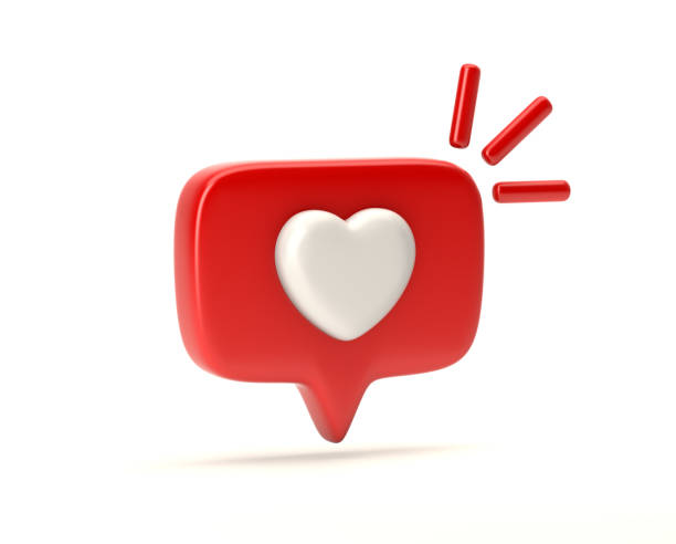one like social media notification with heart icon - icone foto e immagini stock