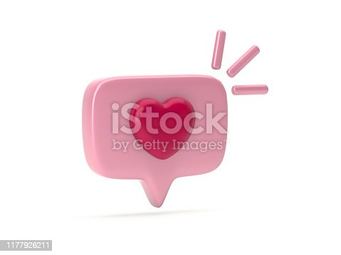 istock One like social media notification with heart icon 1177926211