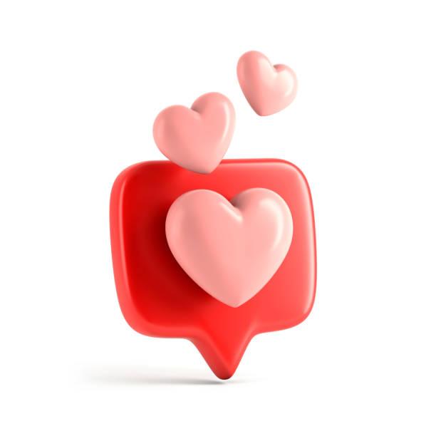 een zoals social media notificatie met hart icoon - driedimensionaal stockfoto's en -beelden
