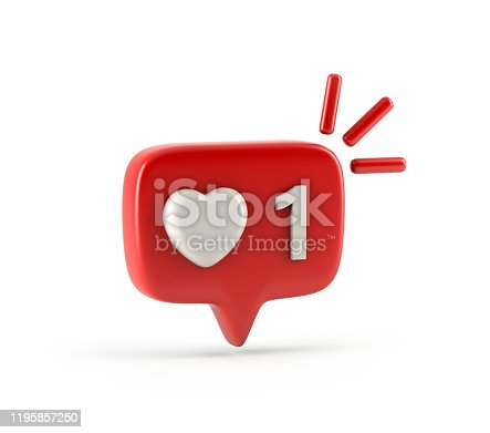 istock One like social media notification with heart icon 1195857250