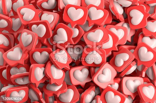 Speech bubbles with heart. 3d illustration.