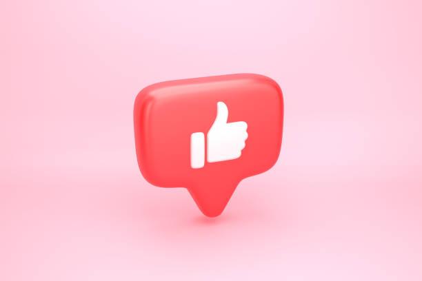 um como a notificação dos media sociais com polegar acima do ícone - like - fotografias e filmes do acervo