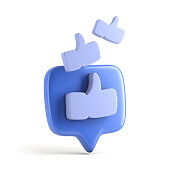 istock One like social media notification with thumb up icon 1200899039