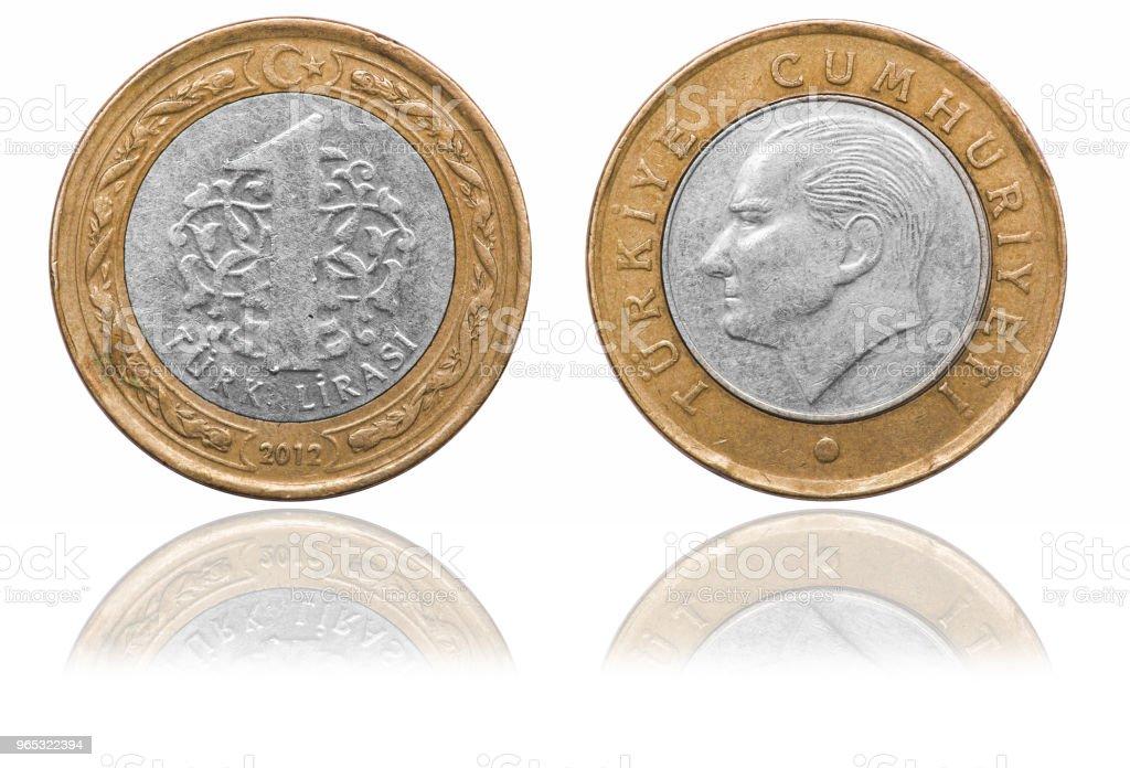 One lira coin. Turkey. 2012 royalty-free stock photo