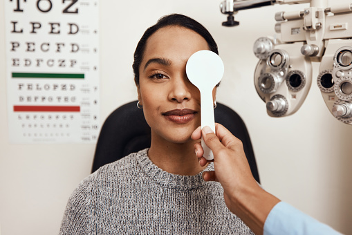 Shot of an optometrist covering her patient's eyes with an occluder during an eye exam