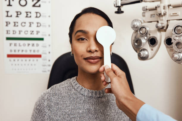 One little eye test goes a long way stock photo