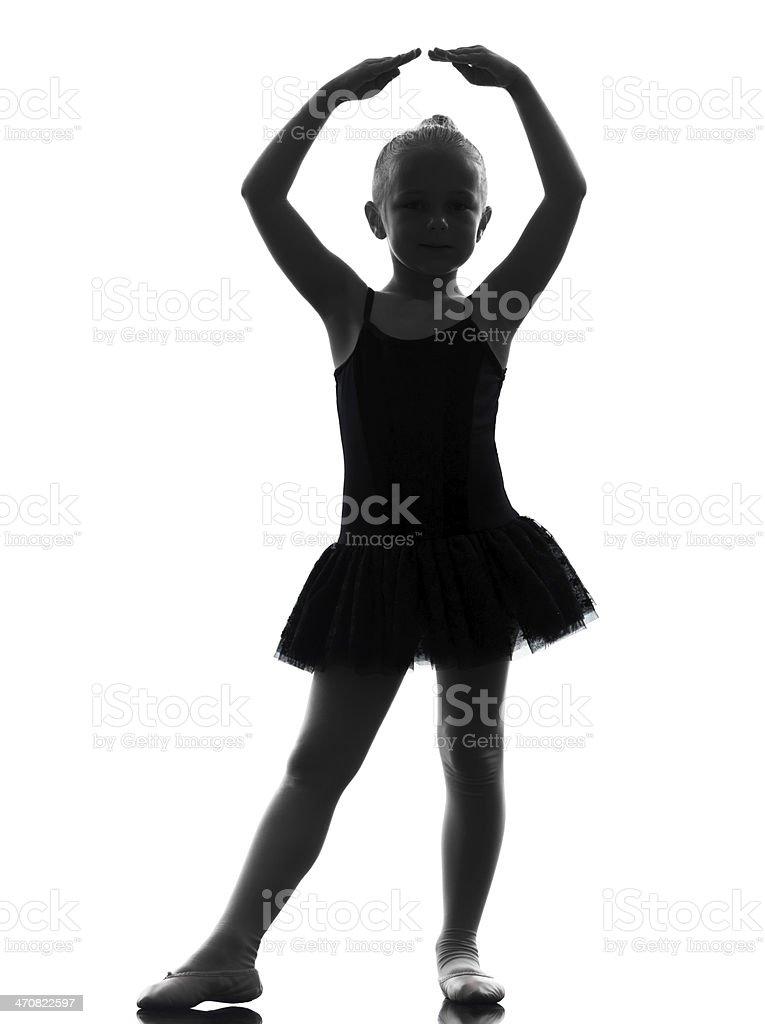 one little girl ballerina ballet dancer dancing silhouette stock photo