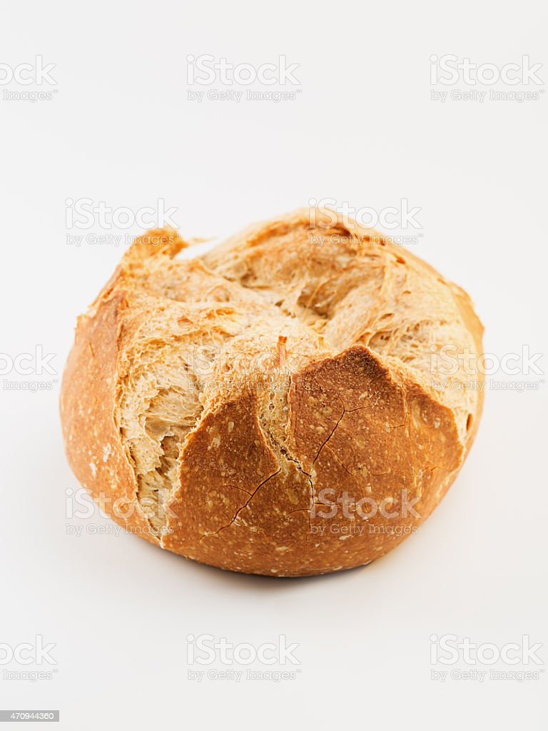 One loaf of rustic bread Pa de Pages. stock photo