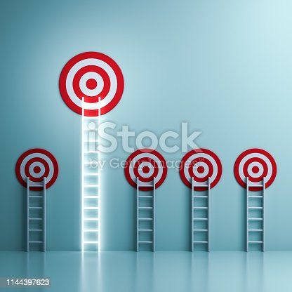 938669816 istock photo One longest neon light ladder reaching for the bright bigger goal target dartboard the business creative idea concepts on light green pastel color wall background with reflections 3D rendering 1144397623