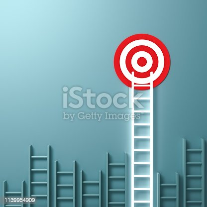 938669816 istock photo One longest neon light ladder reaching for the bright goal target dartboard the business creative idea concepts on green pastel color wall background with shadows 1139954909