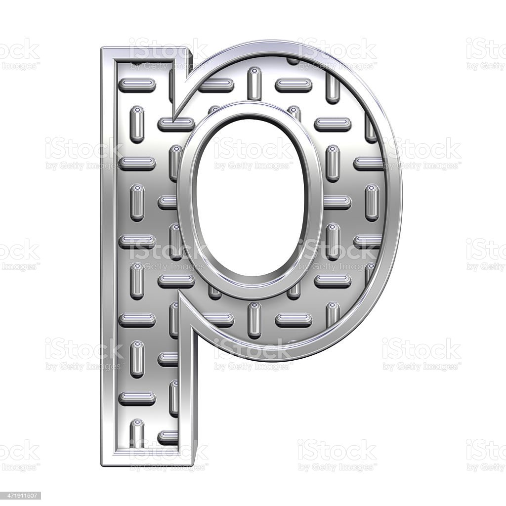 One lower case letter from steel tread plate alphabet set stock photo