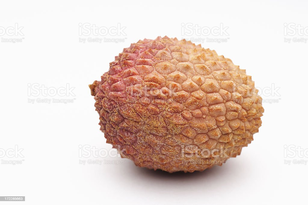 One Lychee on White stock photo