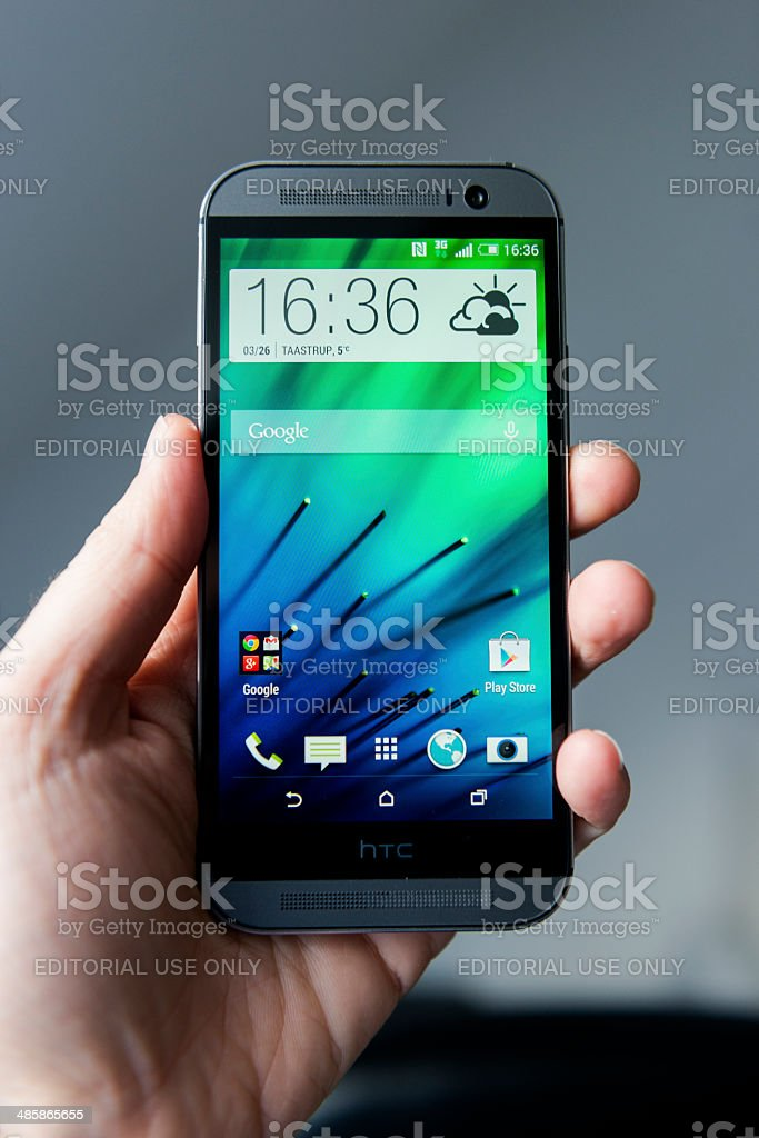HTC One M8 - Android phone made from aluminium stock photo