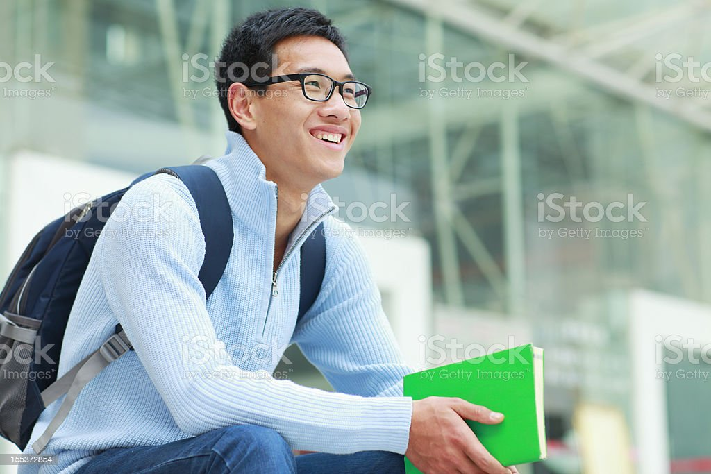 one male college student in campus royalty-free stock photo