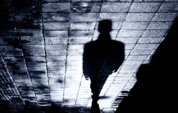 One man alone in the night shadow