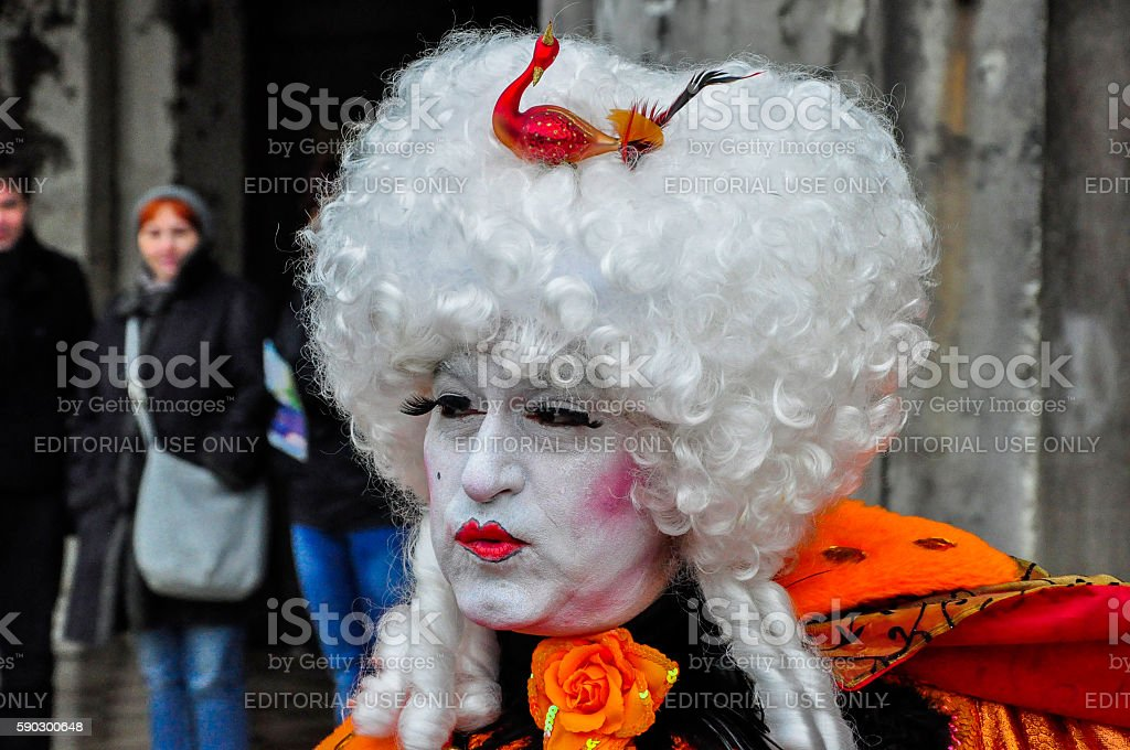One man dressed for Venetian Carnival, Venice, Italy royaltyfri bildbanksbilder
