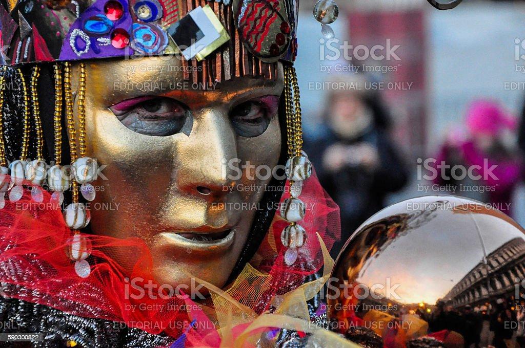 One man dressed for Venetian Carnival, Venice, Italy royaltyfri bildbanksbilder
