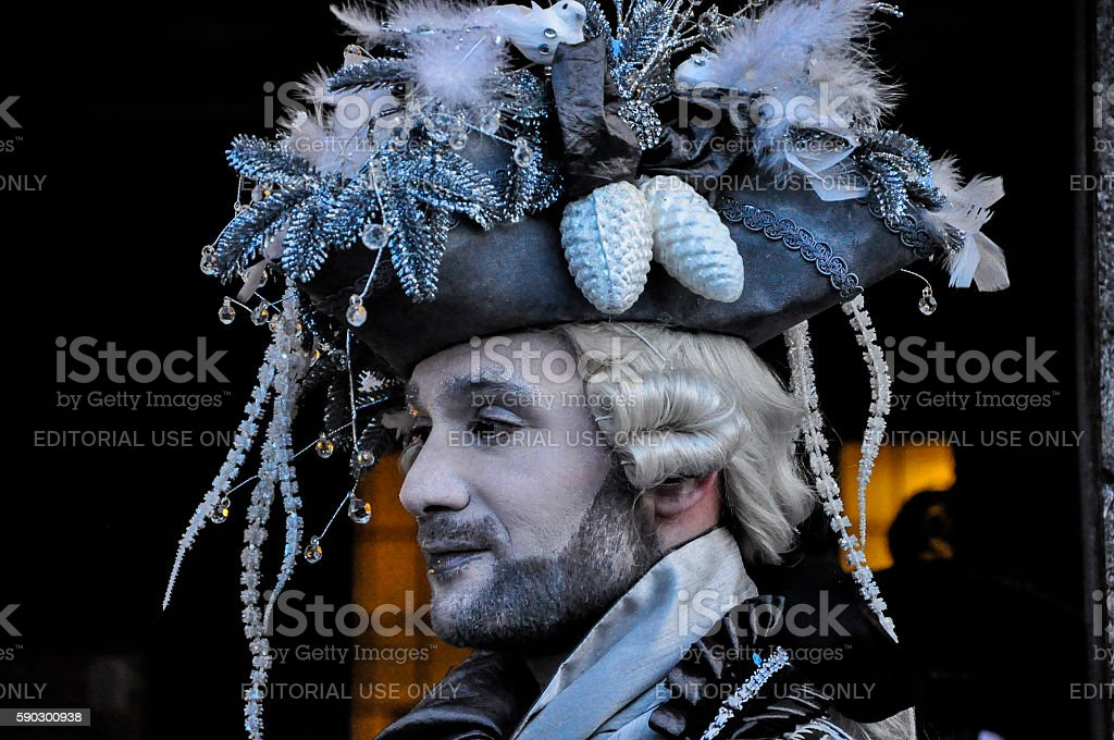 One man dressed for Venetian Carnival, Venice, Italy Стоковые фото Стоковая фотография