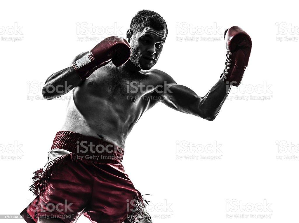 one man exercising thai boxing silhouette royalty-free stock photo