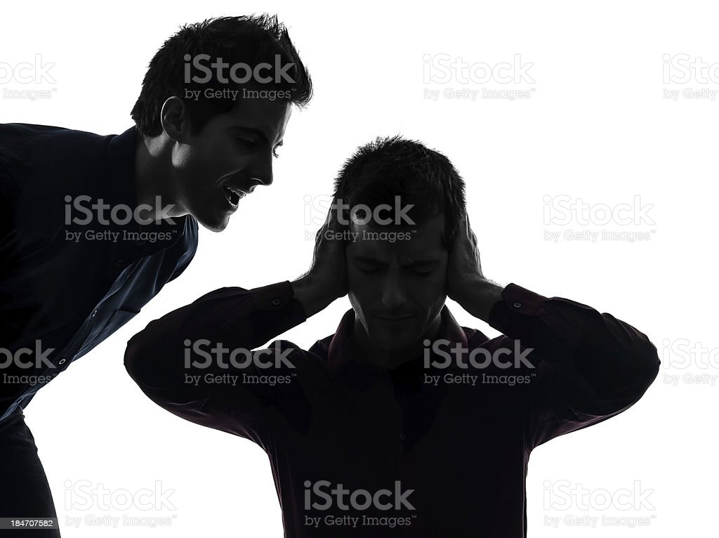 one man hearing voices royalty-free stock photo