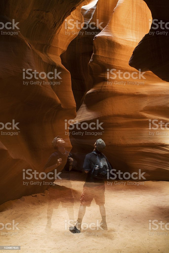 One Man in Antelope Canyon stock photo