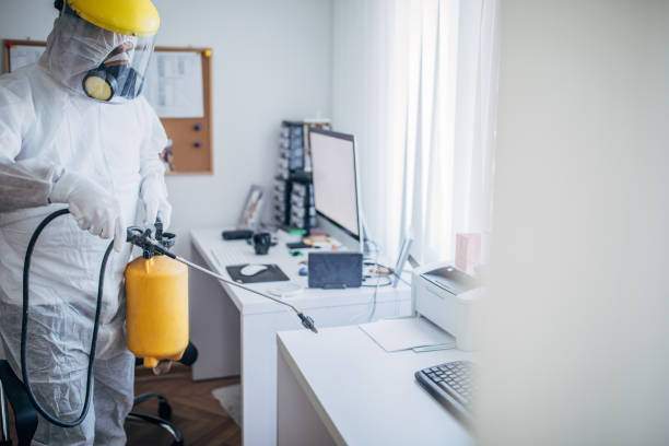 One man in protective suit disinfecting office work space stock photo