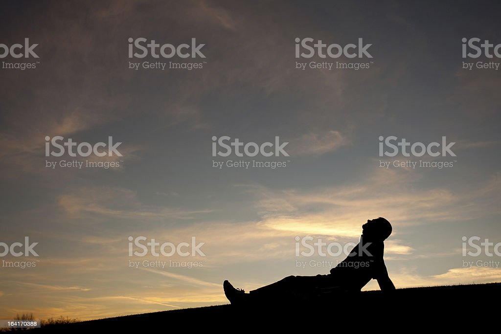 One Man Sky Gazing royalty-free stock photo