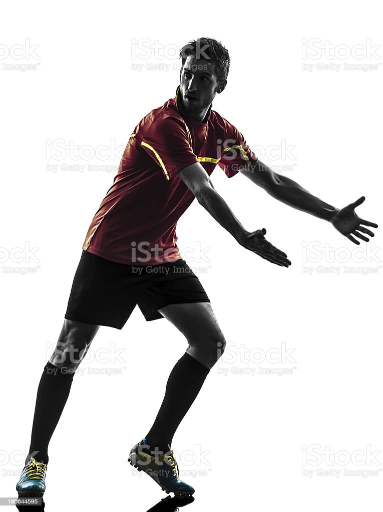 one man soccer player complaining silhouette royalty-free stock photo