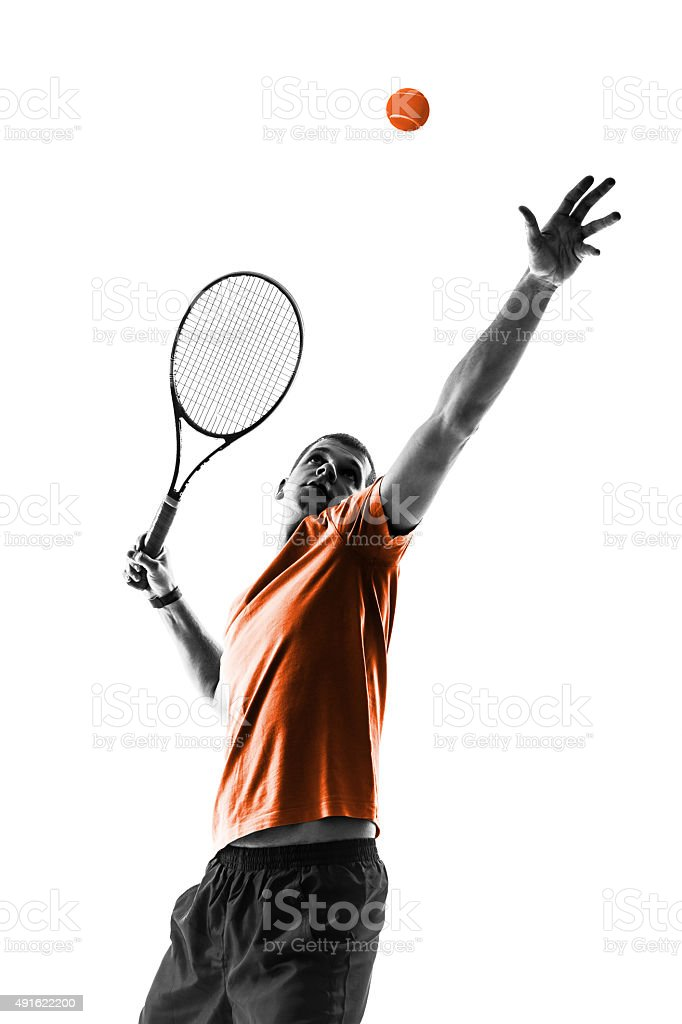 one man tennis player portrait stock photo