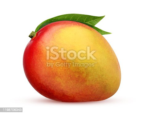isolated mango. whole fruit isolated on a white background with a clipping path. one red-yellow mango with leaves.