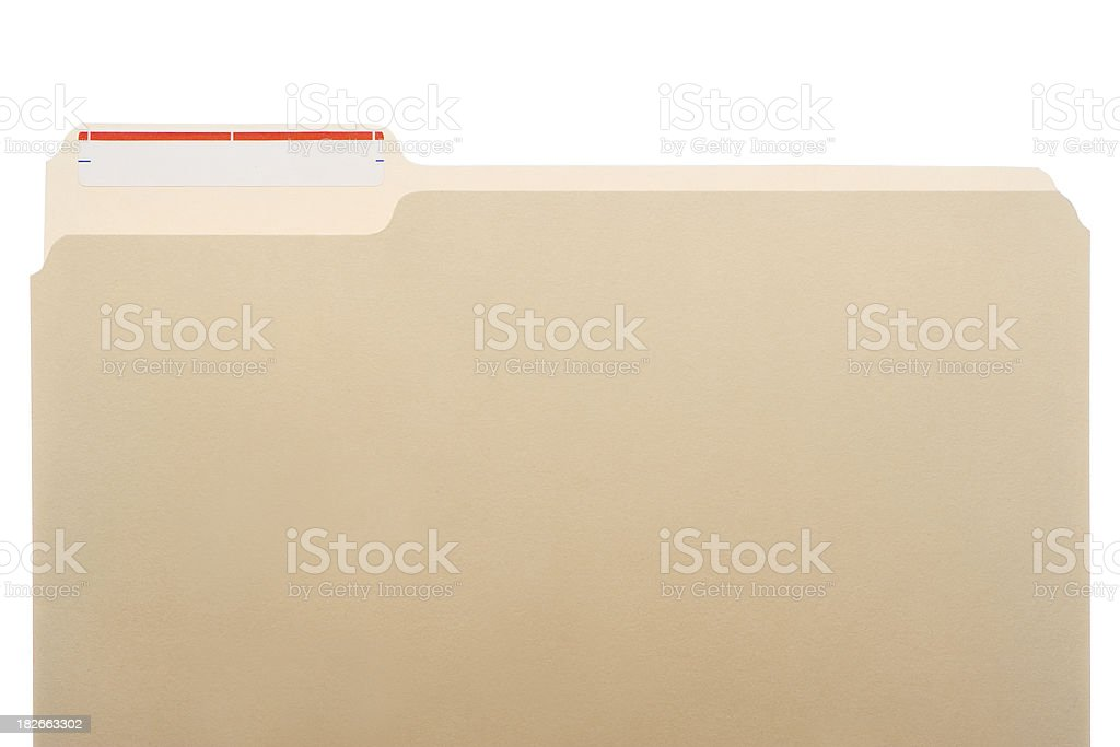One manila folder with white label and thin red stripe royalty-free stock photo