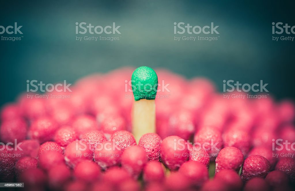 One match standing out from the crowd stock photo