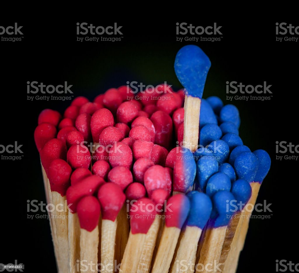 One matchstick standing over from the group, leader concept stock photo