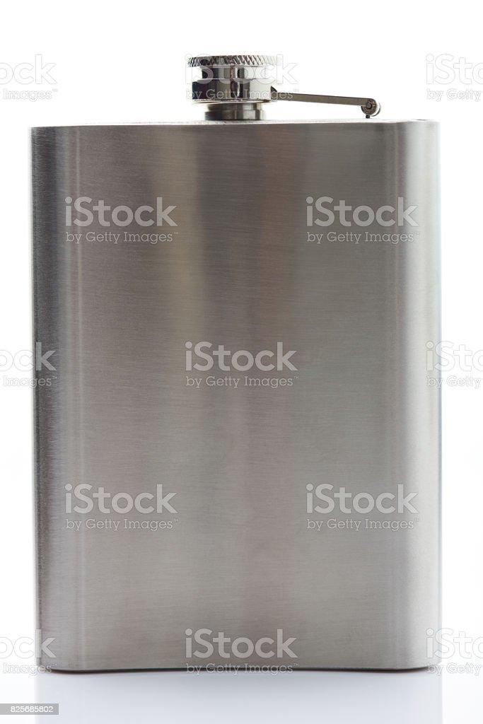 One metal flask stock photo