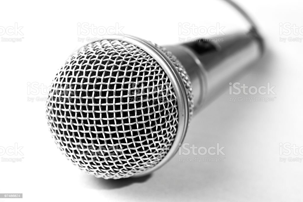 One microphone on white background royalty-free stock photo