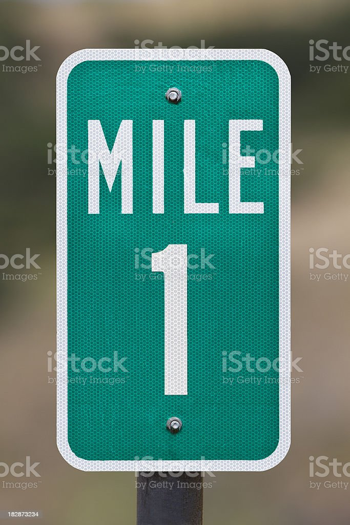 One Mile Marker royalty-free stock photo